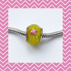 🌸Yellow with Pink Flowers for Pandora Bracelet🌸